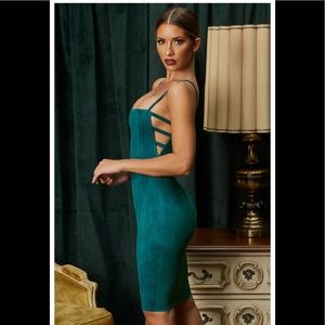 NWT Ohpolly Smooth Ride Suede Teal Dress